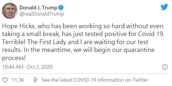 川普表示,自己和第一夫人將展開隔離程序。取自川普推特。