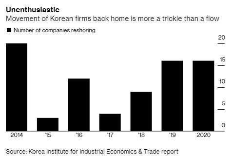 近年韓企鮭魚返鄉的家數。來源:Bloomberg