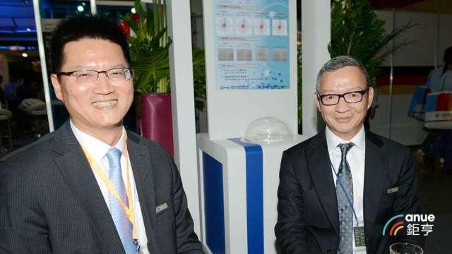 尖點總經理王嘉鴻(左)辭世及總經理一職由董事長林序庭暫代。(鉅亨網記者張欽發攝)