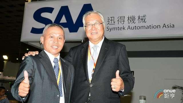 迅得董事長官錦堃(右)及總經理王年清。(鉅亨網記者張欽發攝)