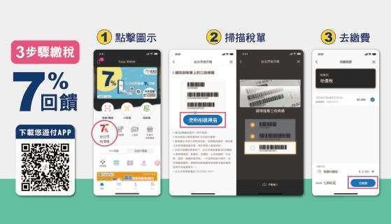 (圖四)溫馨提醒已下載悠遊付 APP 的民眾,需更新至最新版本才能使用繳稅功能 iOS 最新版本:iOS_3.0.15_release_125(含) 以上、Android 最新版本:Android_3.0.15_release_221(含) 以上。