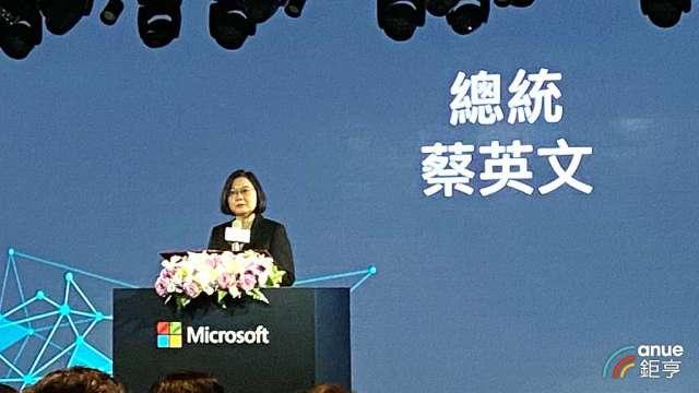 微軟擴大投資台灣,總統蔡英文:象徵台美強化合作布局,創造互利雙贏。(鉅亨網記者劉韋廷攝)