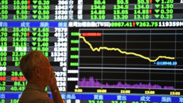 電子股遭狙擊 台股一度跌逾百點驚守月線 跌81點收12793點。(圖:AFP)