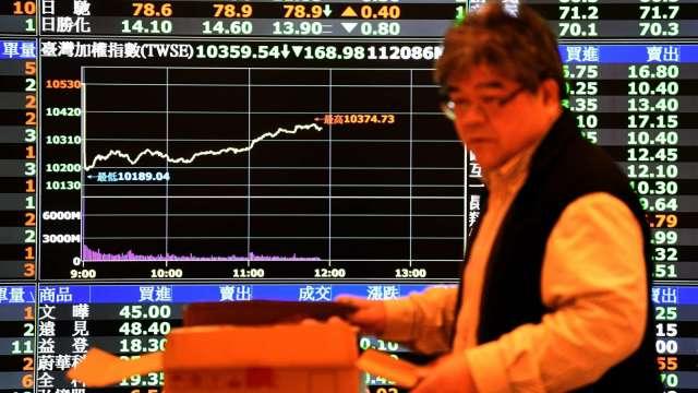 台股翻紅12500點失而復得 外資終止連6賣 三大法人賣超1.96億元。(圖:AFP)