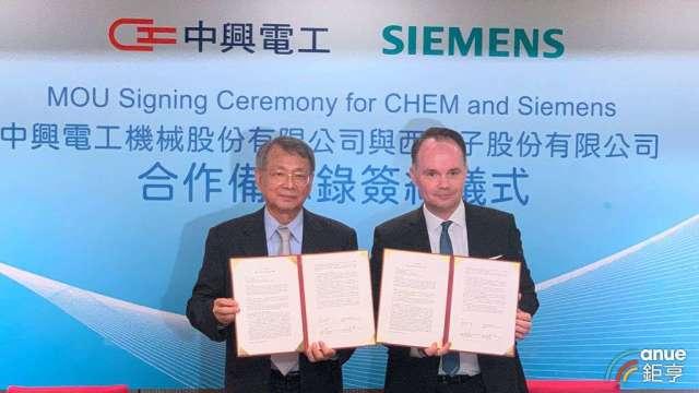中興電今(2)日與西門子數位工業簽訂合作備忘錄。(鉅亨網記者林薏茹攝)