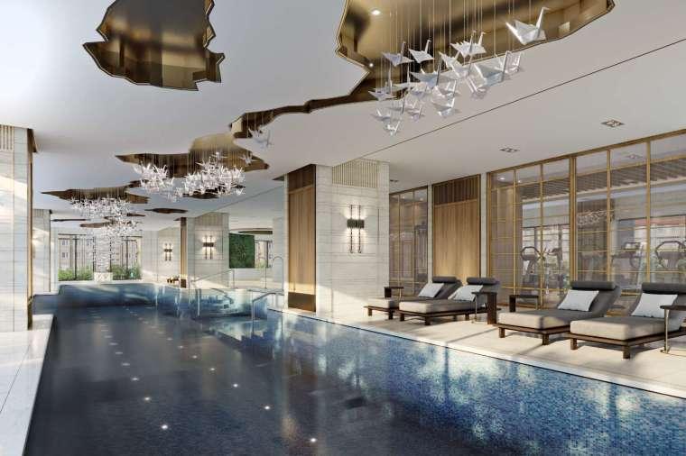 (豪華室內溫水泳池,不必出門就能在家放鬆。圖 / 興富發)