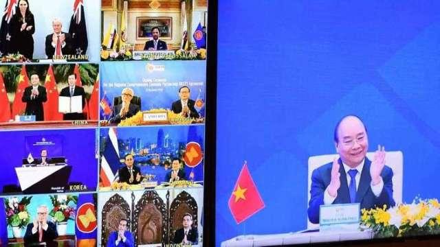 RCEP昨日正式簽署生效成成軍。(圖:AFP)