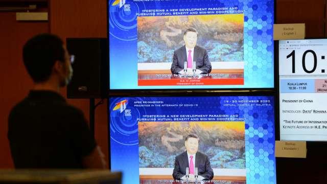 〈APEC領袖會議〉APEC工商對話 習近平強調中國開大門 擁抱世界(圖片:AFP)