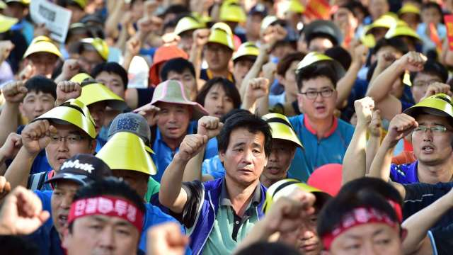南韓製造業瀰漫「罷工恐懼」 憂心企業無力回天 (圖片:AFP)
