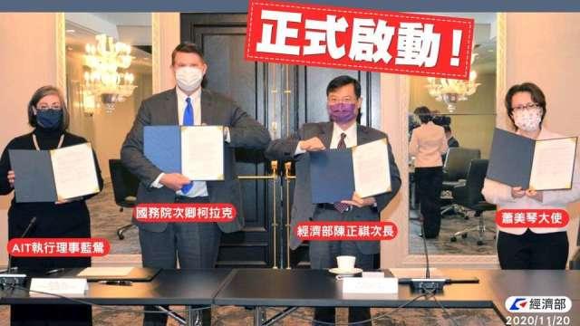台美經濟對話開幕 台美簽署合作備忘錄 (圖片:經濟部臉書)