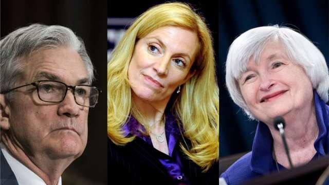 葉倫(右)證實為拜登內閣財長,布蘭納德(中)明年或取代 Fed 主席鮑爾。(圖片:AFP)