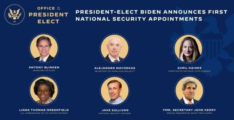 拜登公布第一波內閣名單 (圖片:拜登於過渡政府網站)