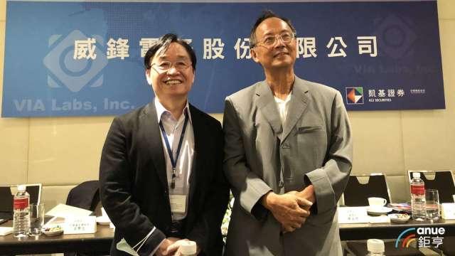 圖右至左為威鋒電子董事長陳文琦、總經理林志峰。(鉅亨網記者魏志豪攝)