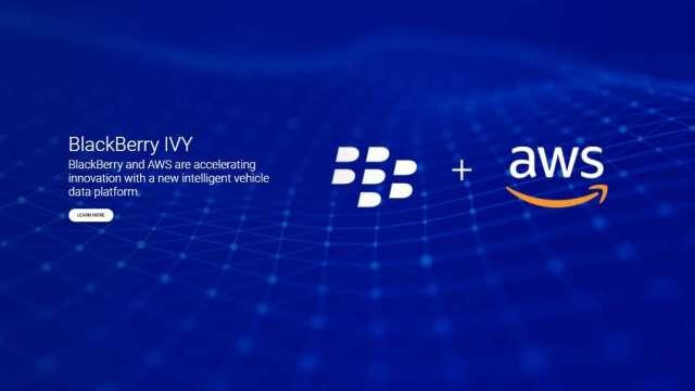 史上最強!黑莓盤中飆漲58% 跨界合作亞馬遜推IVY汽車平台 。(圖片:黑莓)