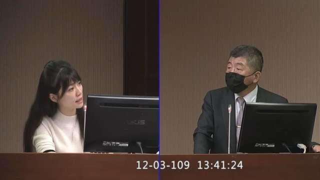 立委高嘉瑜(左)、衛福部長陳時中(右)。(圖:取自立法院隨選視訊)