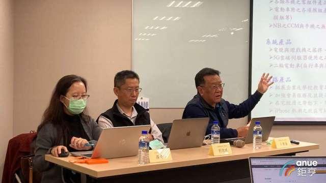 左起為正崴協理羅奇瑋、發言人劉德斌、財務長卜慶藩。(鉅亨網記者彭昱文攝)