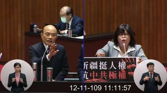 蘇揆今天前往立法院進行施政總質詢。(圖:立法院隨選視訊)