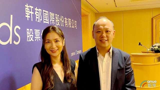 左為軒郁董事長胡蕙郁、右為總經理楊尚軒。(鉅亨網資料照)