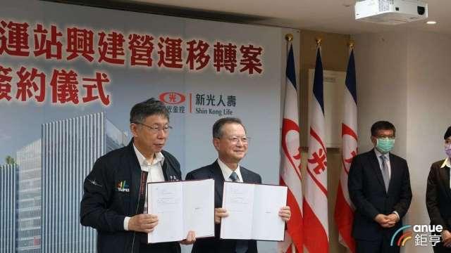 南港車站BOT移轉案由台北市長柯文哲(左)與新壽董事長許澎(右)共同簽約。(鉅亨網記者郭幸宜攝)