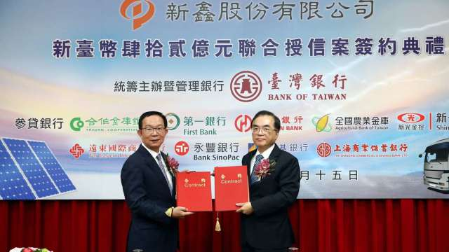 新鑫董事長許國興(左)與台銀總經理許志文(右)代表簽約。(圖:裕隆集團提供)