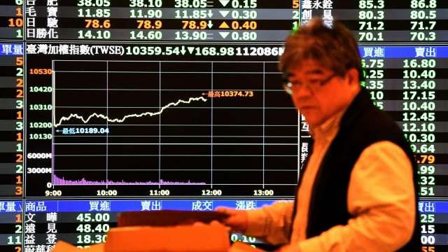 權值股疲軟 台股尾盤爆量跌8點收14249點 周線驚險收連7紅。(圖:AFP)