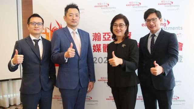 左起為瀚亞投資產品暨行銷部主管王智誼、投資長劉興唐、總經理王伯莉、基金經理人杜振宇。(圖:瀚亞投資提供)