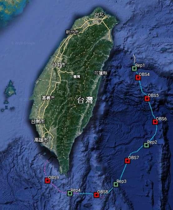 中央氣象局臺灣東部海域地震與海嘯海纜觀測系統第三期海底纜線布建範圍。