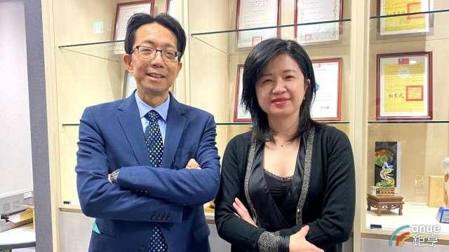 左為圓點奈米總經理簡建興、右為董事長章季芸。(鉅亨網記者沈筱禎攝)