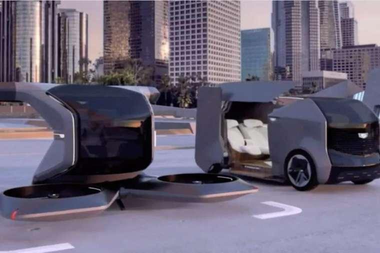 通用汽車設計豪華蛋形電動汽車和一架單座電動垂直起降(eVTOL)飛行車。(圖片:通用)