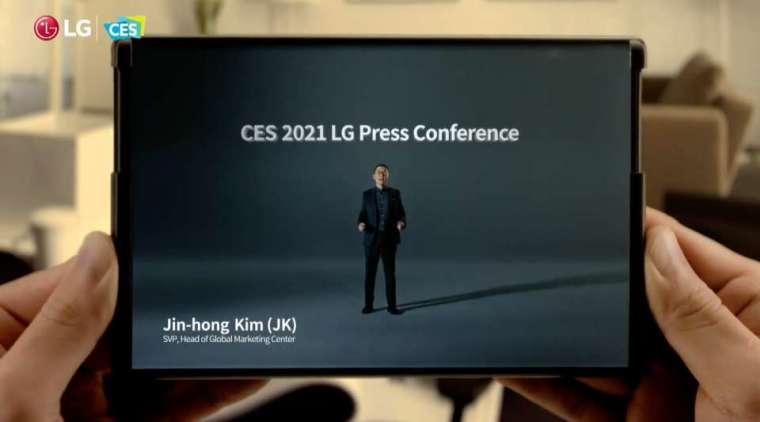 LG 線上CES影片中出現的捲軸螢幕手機(圖:LG)