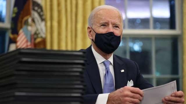 我國總統蔡英文恭賀拜登、賀錦麗就任美國總統、副總統。 (圖片:AFP)