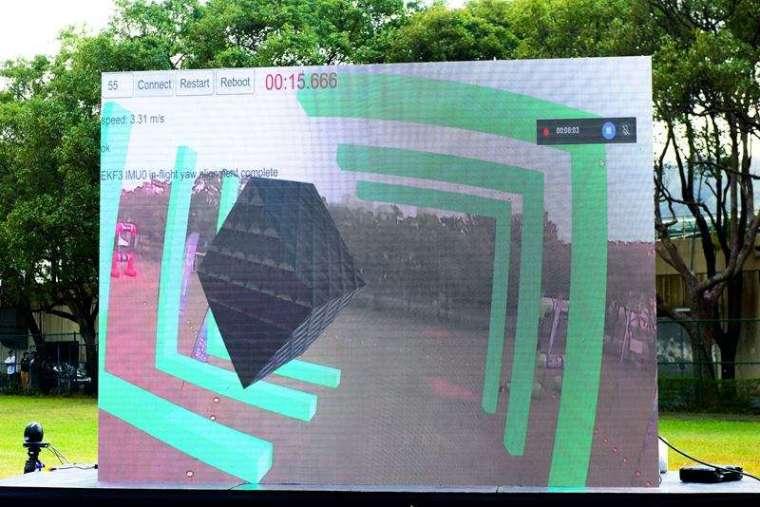 現場布置超大尺寸螢幕,能即時播映每台無人機回傳的畫面,為賽事增添許多的互動性。