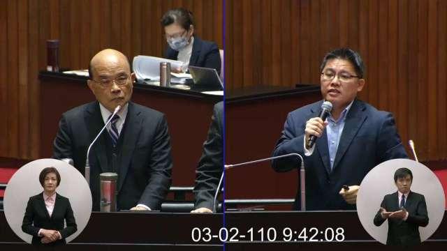 行政院長蘇貞昌今 (2) 日赴立法院施政報告並備質詢。(圖:取自立法院隨選視訊)