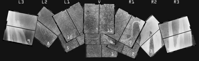 U-2 航拍示意圖。U-2 的相機能左右擺動鏡頭,連續拍攝不同角度。為了保持機身平衡,底片切成一半,一半往前滾動,一半往後滾動,因此每次任務會有兩大捲底片,沖洗後再拼接起來。 圖│徐林先生提供