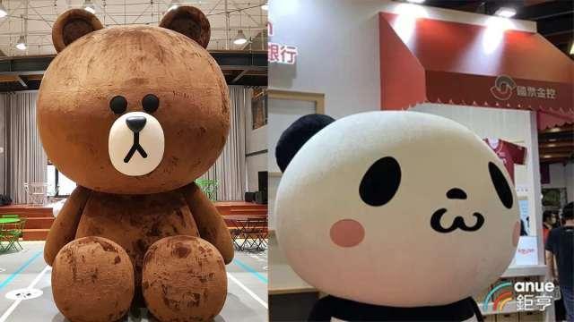 樂天熊貓(左)、LINE熊大(右)戰線延伸至純網銀。(鉅亨網資料照合成)