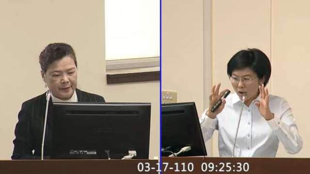 經濟部長王美花(左)、立委林岱樺(右)。(圖:取自立法院隨選視訊)