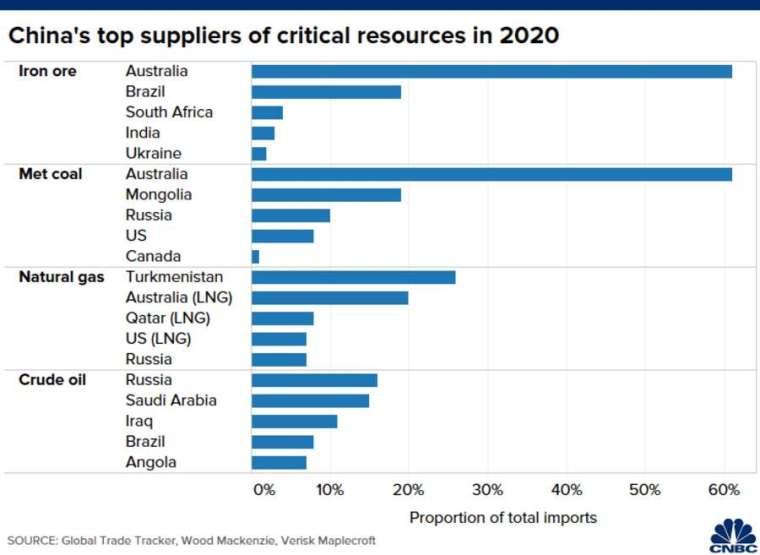 中國關鍵天然資源的主要進口國,為 2020 年統計資料。來源: CNBC