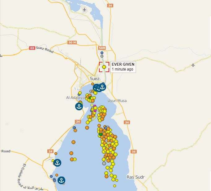 蘇伊士運河雙向運輸受阻,後方貨櫃輪大排長龍。(擷取自 vesselfinder)