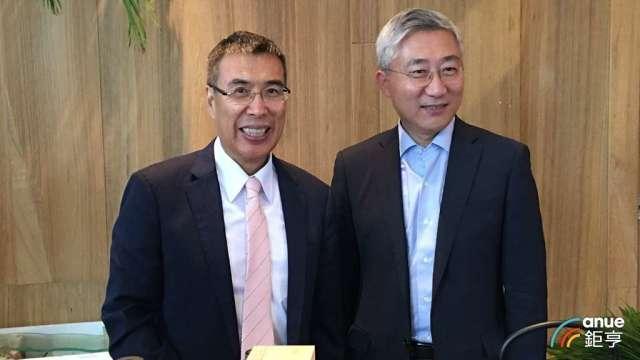 富邦媒董事長林啟峰(左)和總經理谷元宏(右)。