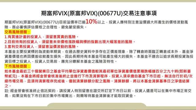 期富邦VIX跌破2元 下市警鐘再度響起。(圖擷自富邦投信官網)