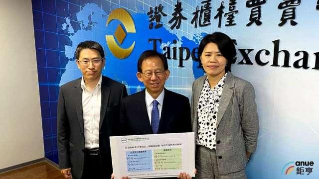 左至右為高端疫苗發言人李思賢、總經理陳燦堅、財務長楊郁萍。(鉅亨網記者沈筱禎攝)