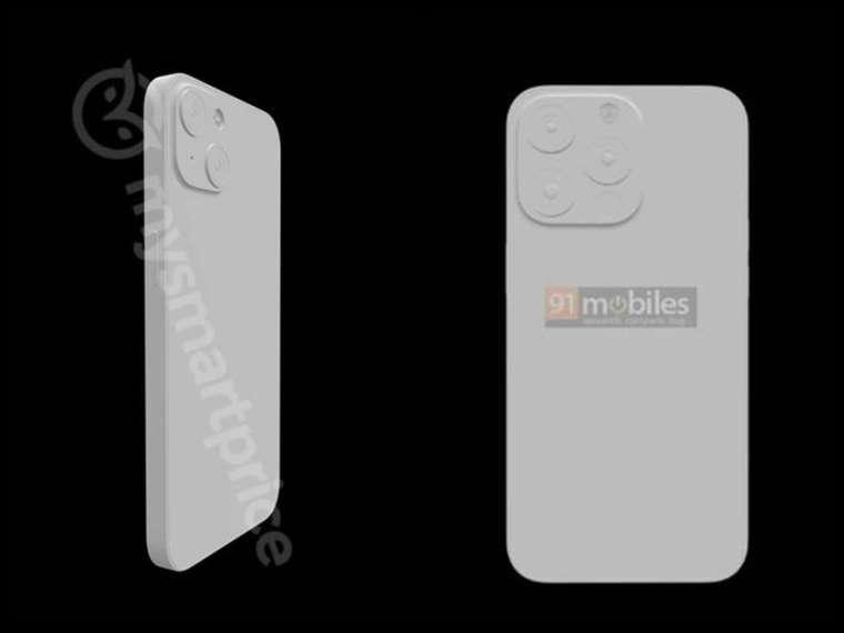 iPhone13(左) 與 iPhone13 Pro(右) 新鏡頭變化 (圖: 左圖來自 mysmartprice、右為 91Mobiles)