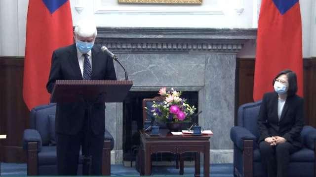 蔡總統接見拜登特使陶德訪團 促台美重啟TIFA對話。(圖:總統府直播)