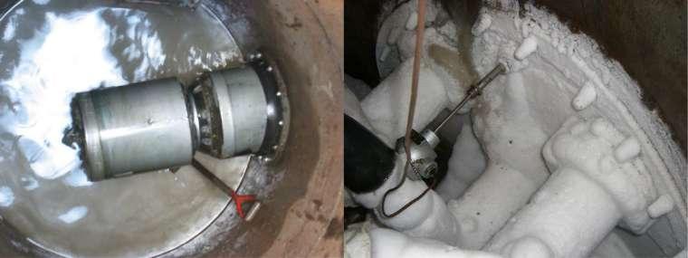(左) 在豎井內透過推進機,水平開挖出汙水下水道 (右) 利用液態氮冰凍工法,將豎井周圍的土壤結凍,改善開挖過程的湧水問題 圖│陳洋元提供