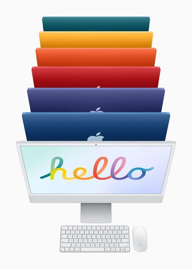 新款 iMac 擁有 24 吋窄邊寬,7 種不同顏色。 (圖片:蘋果)