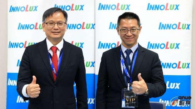 群創董事長洪進揚(右)、總經理楊柱祥(左)。(鉅亨網記者劉韋廷攝)