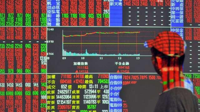 電金傳遍地開花 台股拉尾盤漲272點收17572點 改寫歷史新高。(圖:AFP)