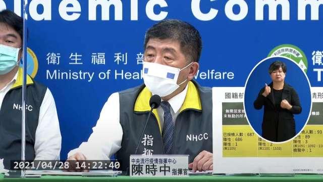 台灣再現3例新冠本土病例 抗體陽性機師家人也染疫。(圖:疾管署直播)
