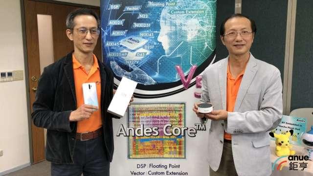 右至左為晶心科執行長林志明、總經理蘇泓萌。(鉅亨網記者魏志豪攝)
