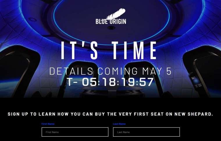 藍色起源將在 5 月 5 日寄送太空旅遊詳細資訊。(圖片:藍色起源官網)